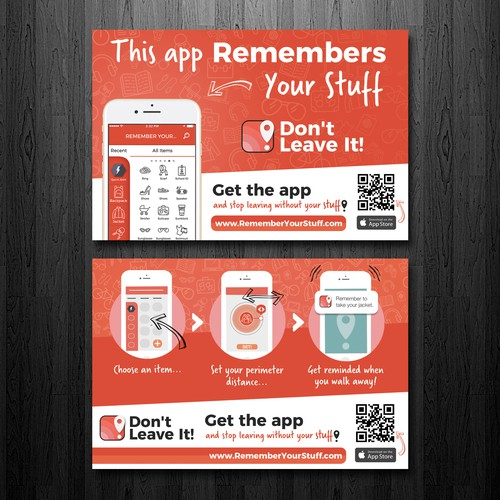 Two sided promotional flyer for an app