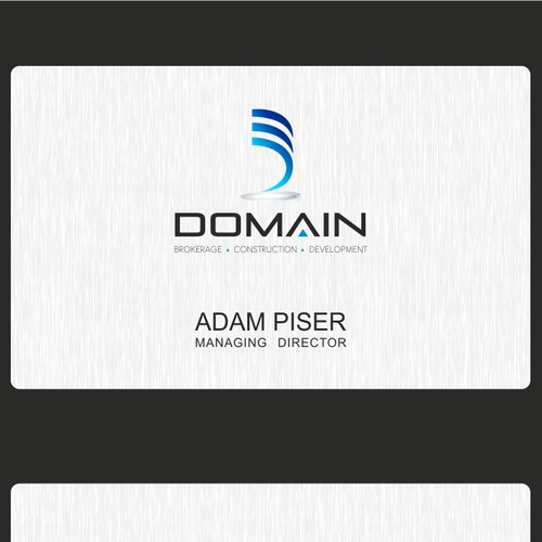 Create the next logo and business card for Domain