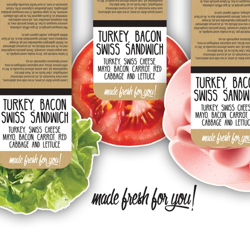Label for pre packaged sandwiches, wraps & rolls