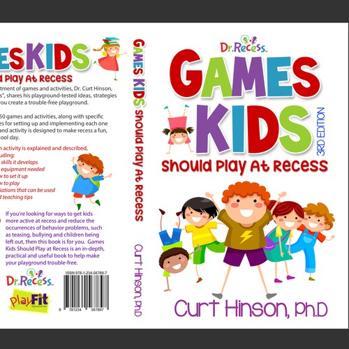 Design a fun, colorful book cover for Games Kids Should Play at Recess book.