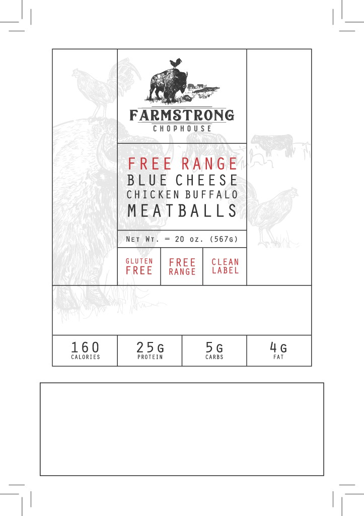 FarmStrong ChopHouse - Free Range Chicken Buffalo Blue Cheese Meatballs (4 in x 6 in label)