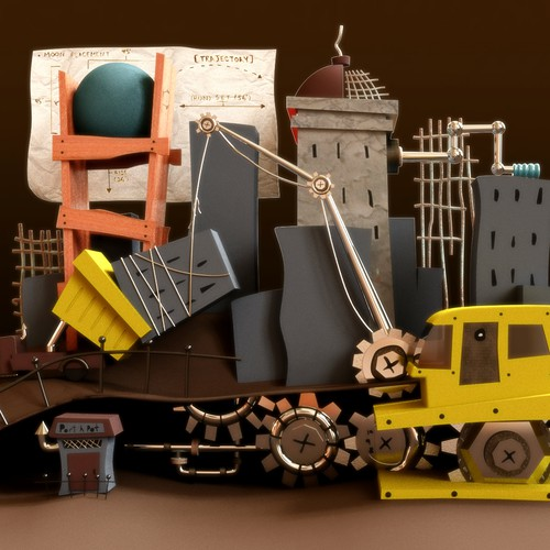 'Constructing' Pencil Illustration Digital Rendering & Coloring for Website Illustration