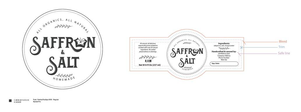 Design a unique company product labeling for Saffron & Salt
