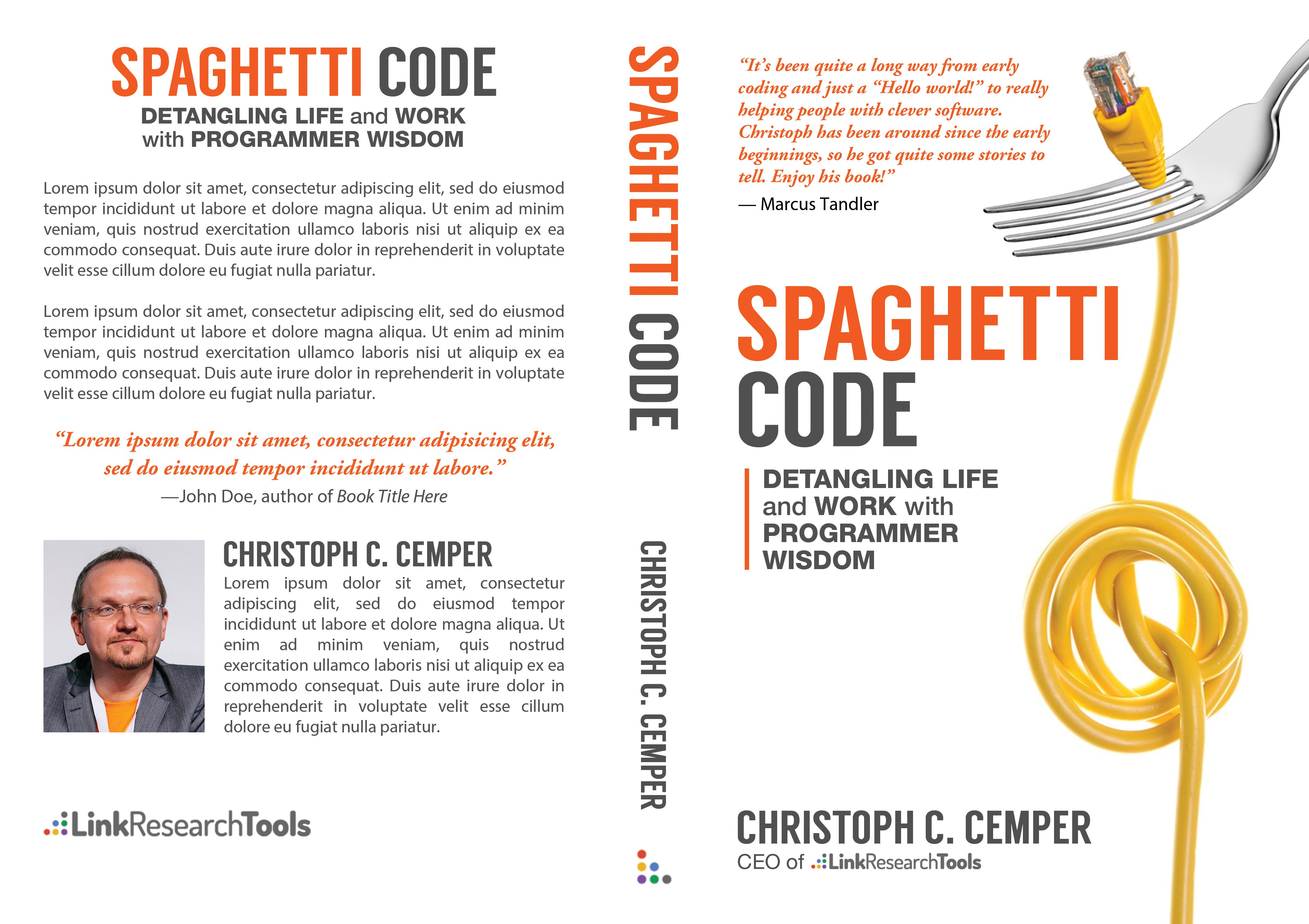 """Business Bestseller Book Cover - """"Spaghetti Code - Detangling Life and Work with Programmer Wisdom"""""""