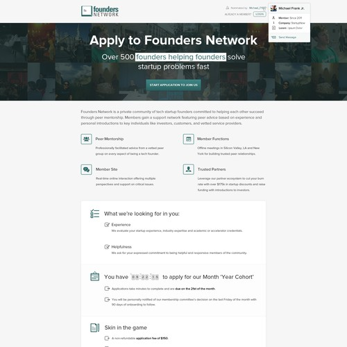 Create a landing page design with high click through for Founders Network