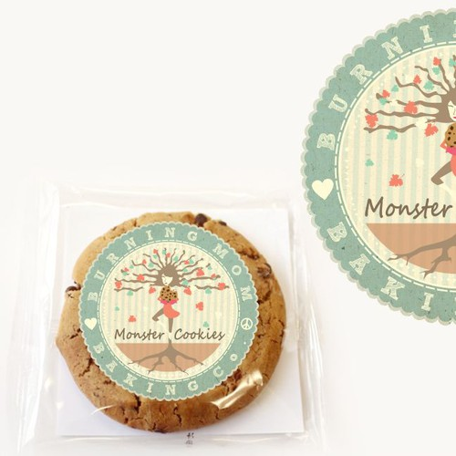 Circular Cookie Package/Logo for Burning Mom Baking Company!!