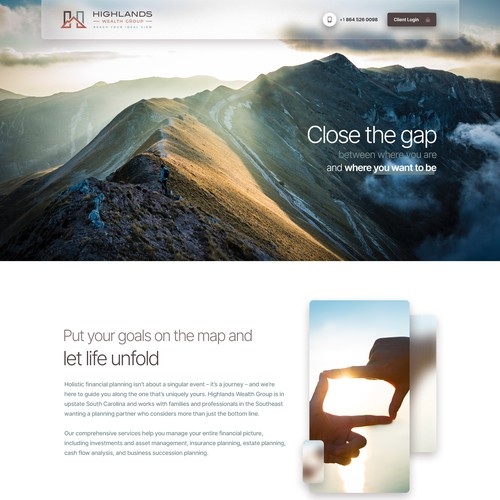 Landing Page Design for Financial Advisory
