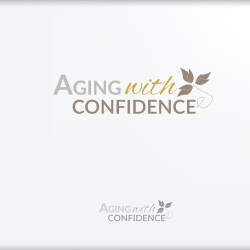 a logo for Aging with Confidence that portrays wisdom, education and secure financial future