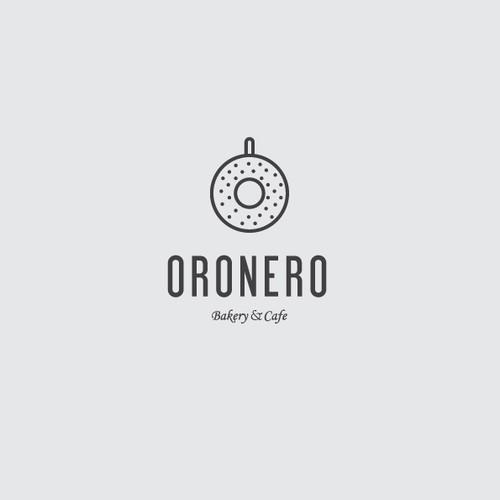 Oronero bakery and cafe logo concept