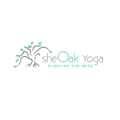 Create a capturing modern feminine yoga design with an oak tree incorporated