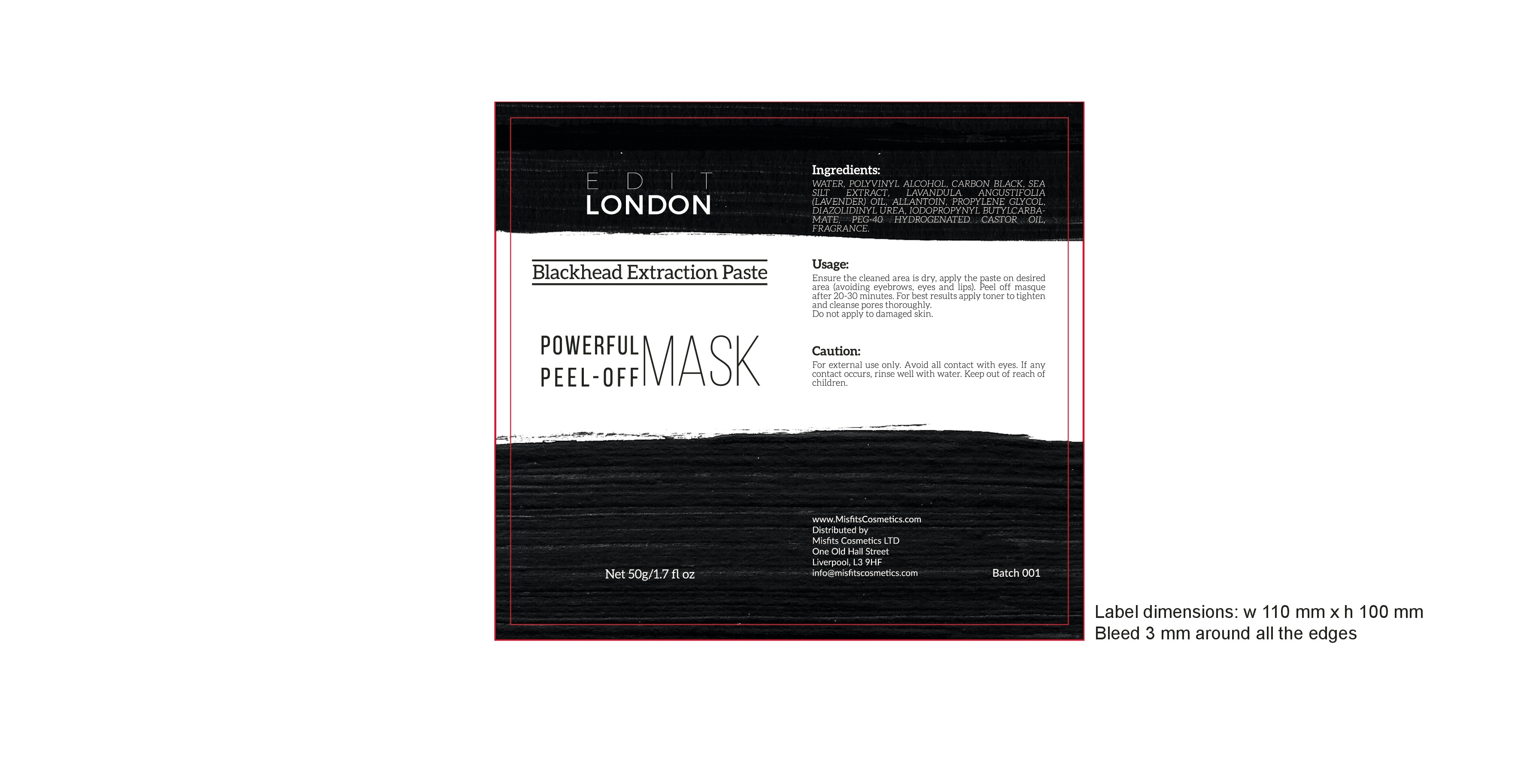 Label design for a cosmetic blackhead removal mask.