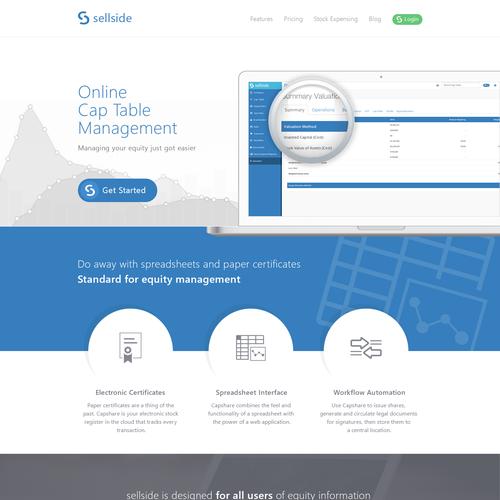 Creating a website design for sellside.io