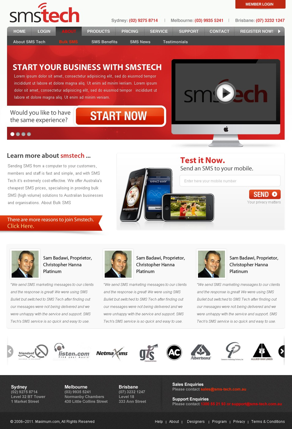 SMS Tech needs a new template design & amendment to the homepage.