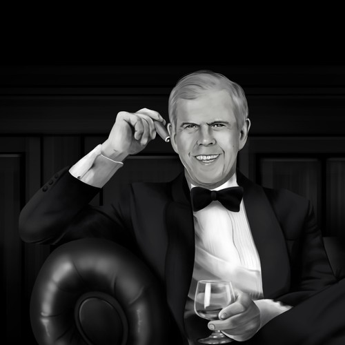 Donald Burns BW portrait Illustration