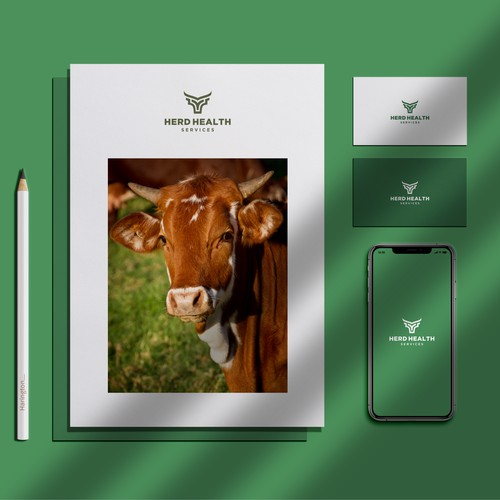 masculine and modern cow health service logo concept