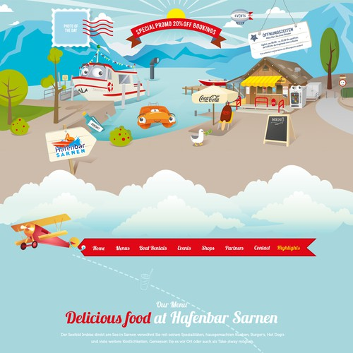 web design for snack bar with pedalo & boat rental