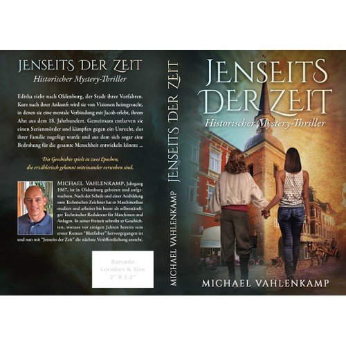 "Book and ebook cover for a mystical novel ""Jenseits der Zeit (Beyond Time)"" set half in the present day and half in the 18th century"