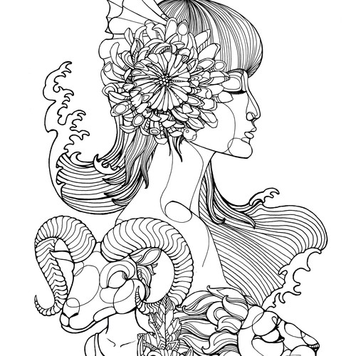 Whoole sleeve Tatoo design with asian woman, koi. lion and capricon