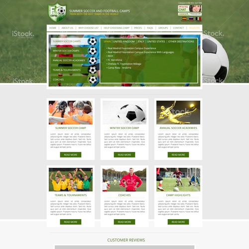 Redesign Soccer Camp Website