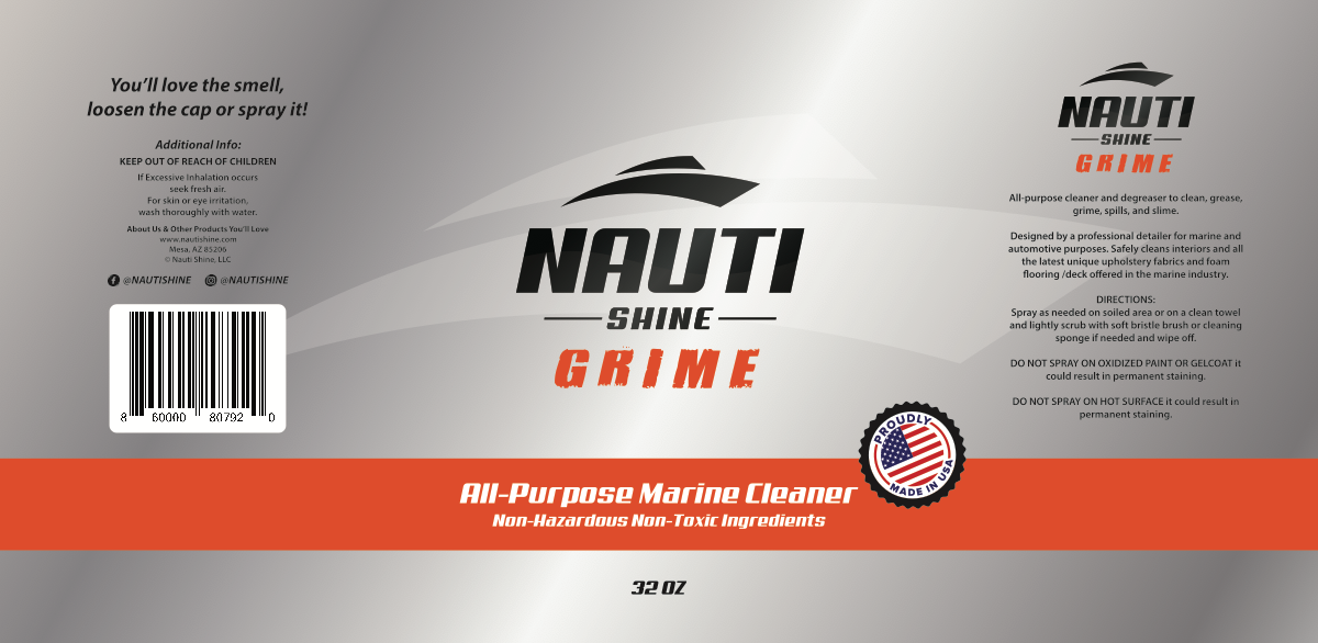 Nauti Shine GRIME 32oz Bottle Label