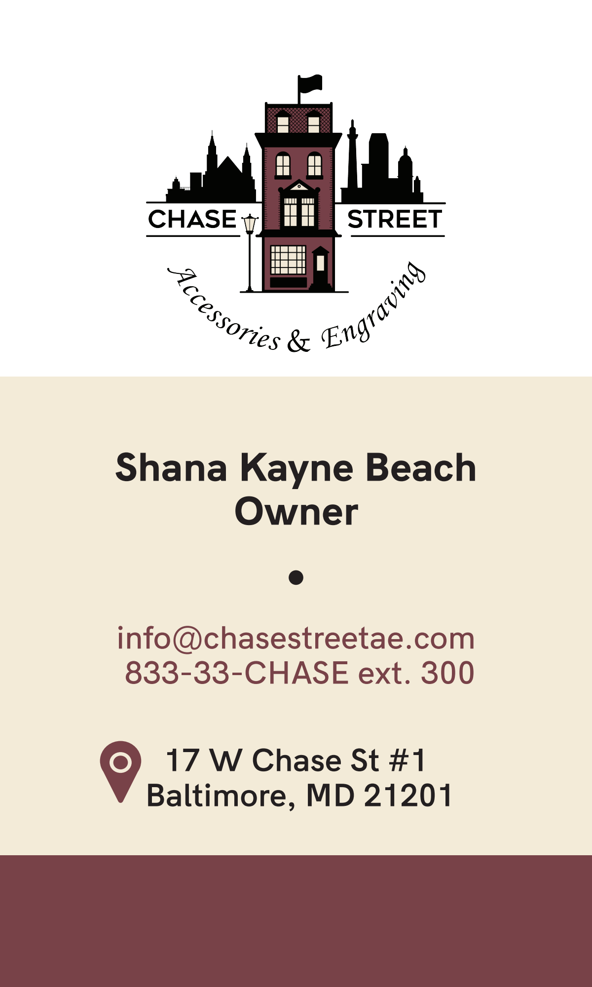 Chase Street business card