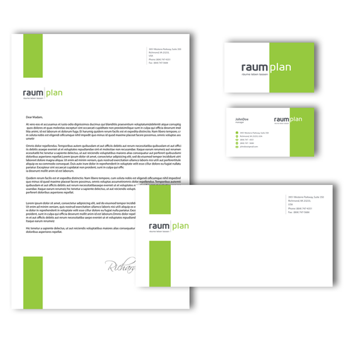 Architectural company logo and stationery design