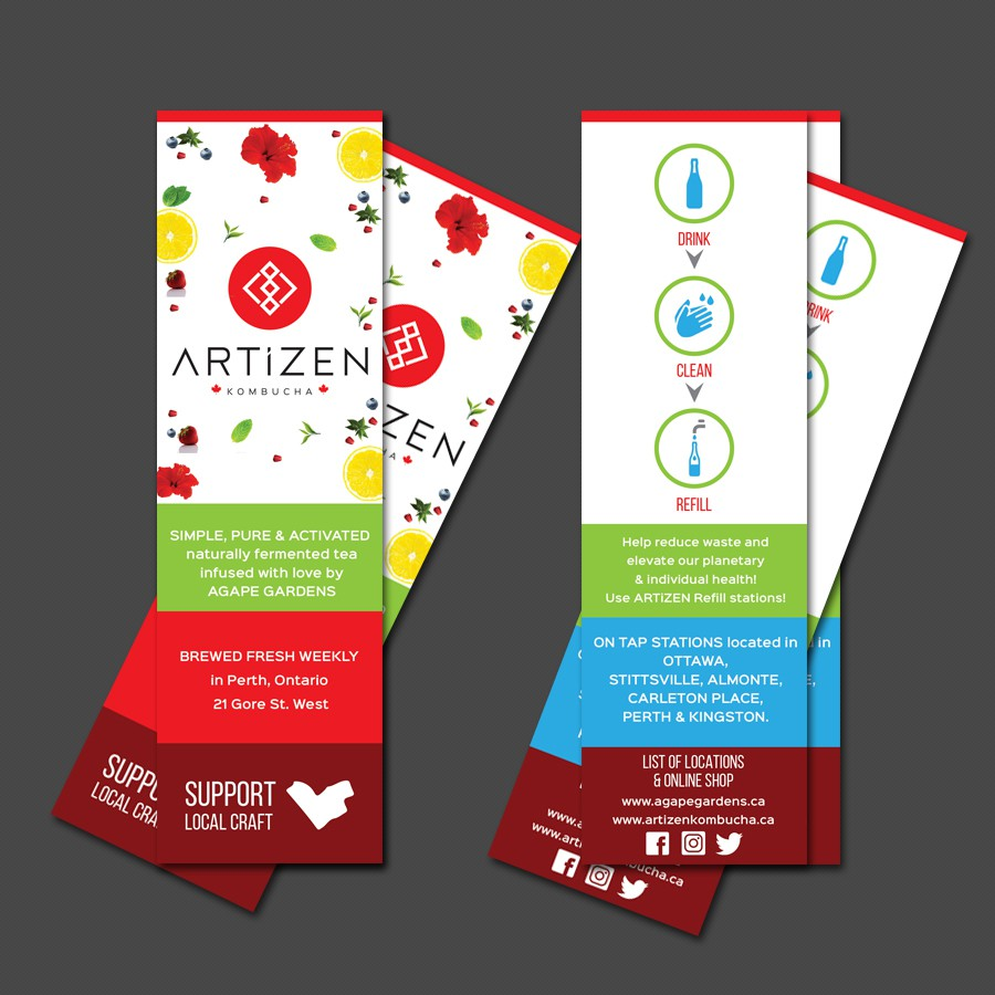 Bookmark Card to promote Artizen kombucha