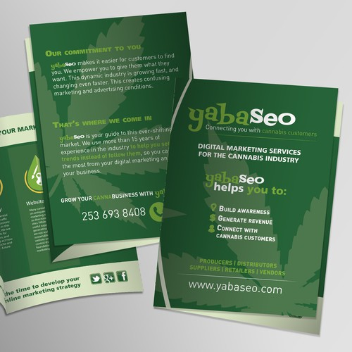 Create a digital marketing brochure for the cannabis industry