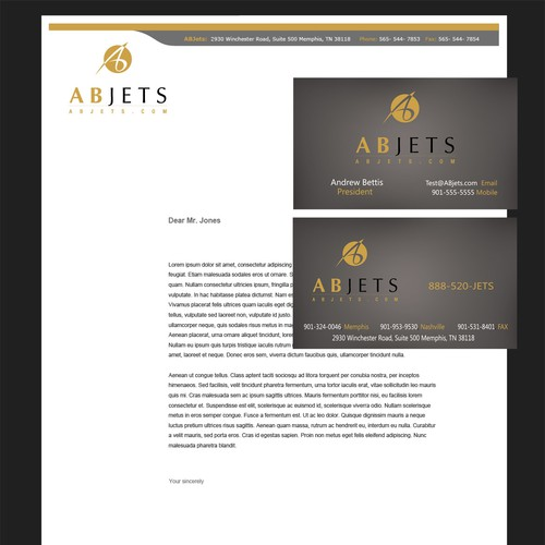AB Jets needs a new stationery & biz cards