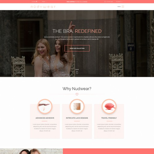 website design for Lingerie e-commerce