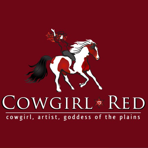 """""""Cowgirl Red""""  wants a passionate, fiery, red-headed, cowgirl logo!"""
