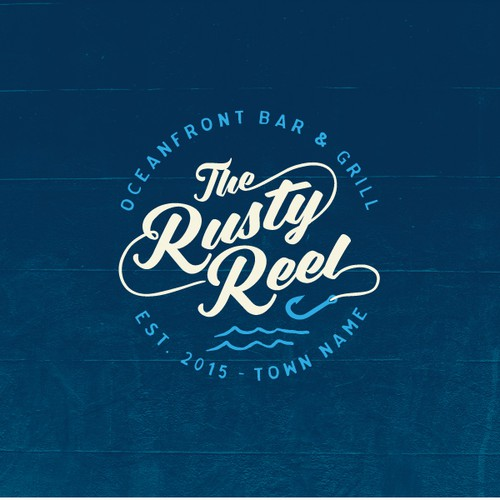 Logo design for The Rusty Reel Oceanfront Bar & Grill