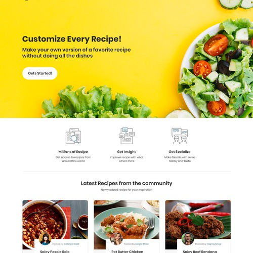 Website Design for Food Recipes Online Sharing.