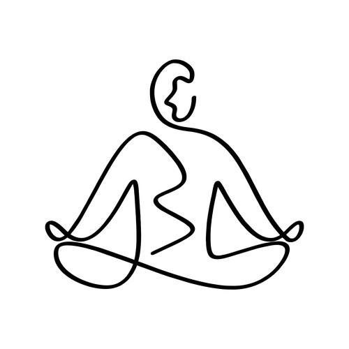 single line drawing body plus mind logo