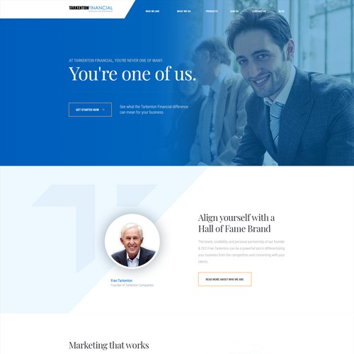 Tarkenton Financial homepage concept
