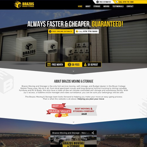 logistic and storage minimal website with high contrast