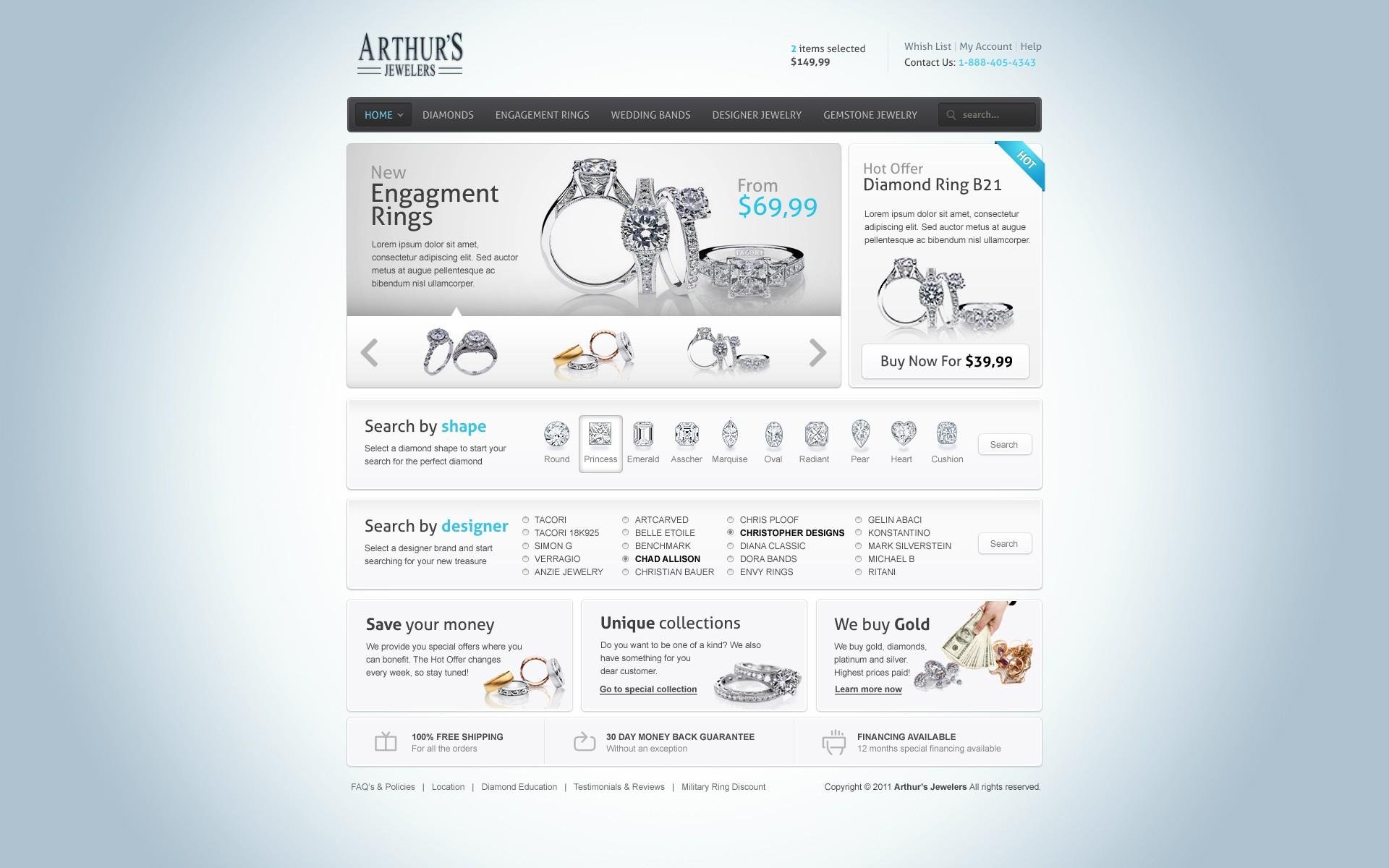 Arthurs Jewelers needs a new website design