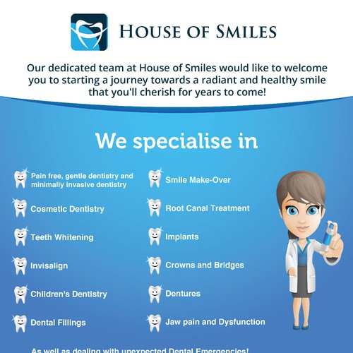 Create flyer for a high end dental practice