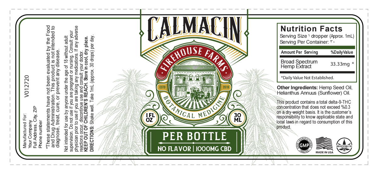 Calmacin Extract label