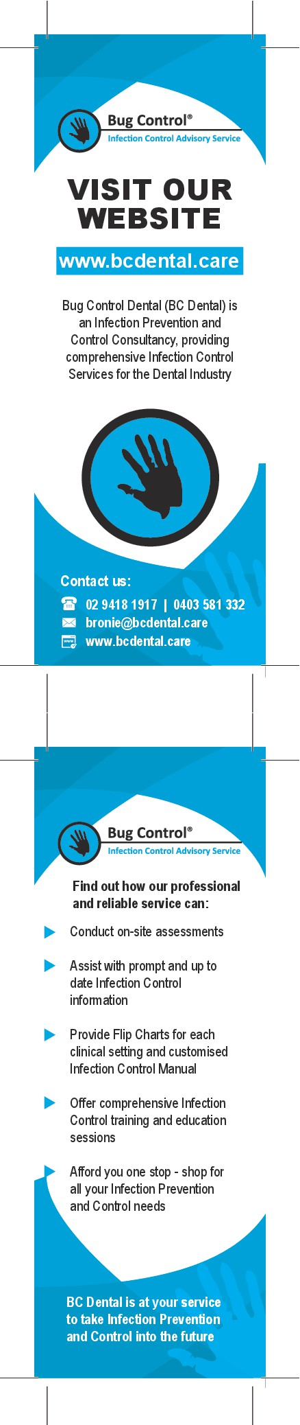 Please create a professional pamphlet and bookmark with clean lines
