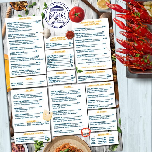 Menu  design for a Greek restaurant