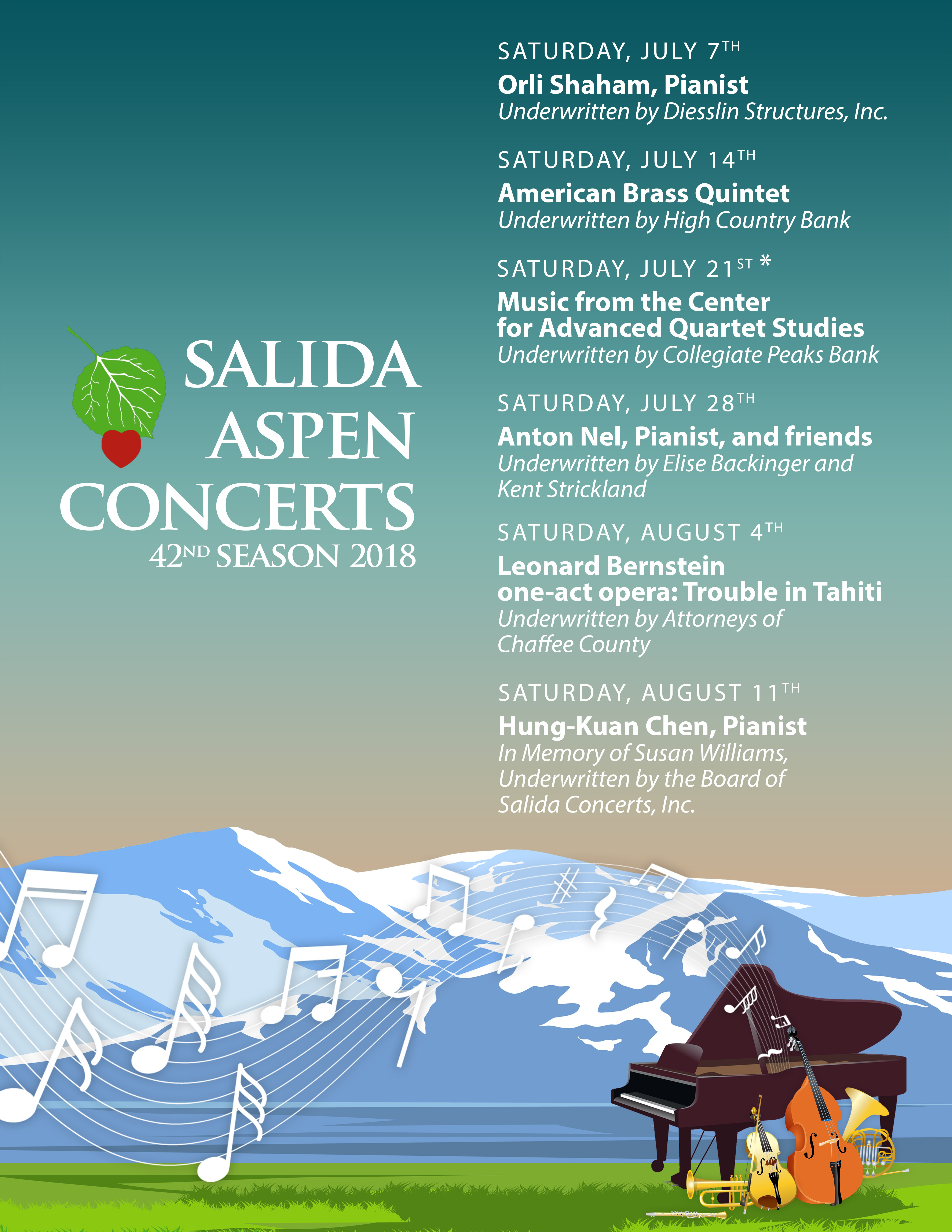 Design a Classical Music Poster for the 2018 Salida Aspen Concerts