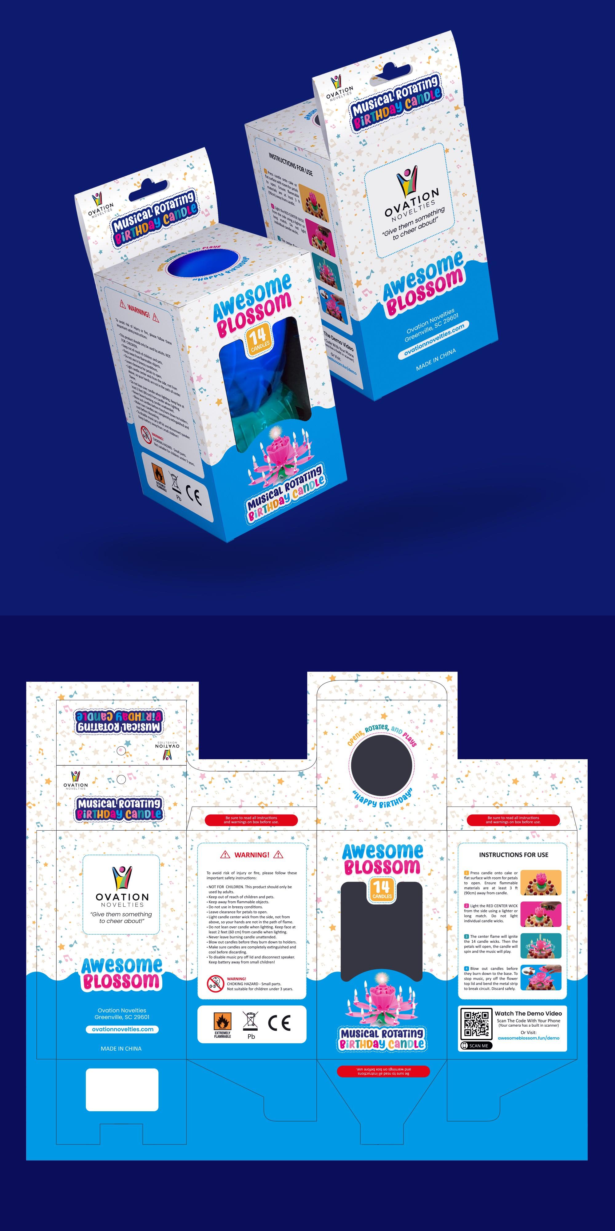 Create a fun box design for a musical birthday candle.