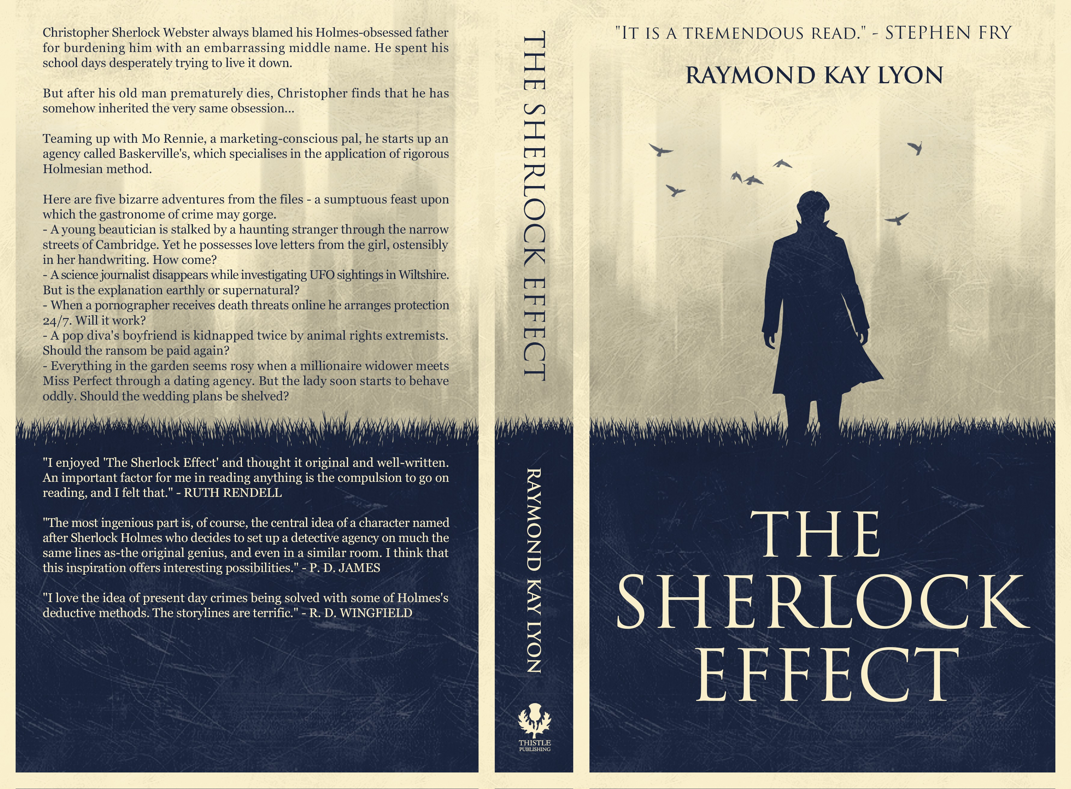 Book cover for a detective novel about a modern-day Sherlock Holmes