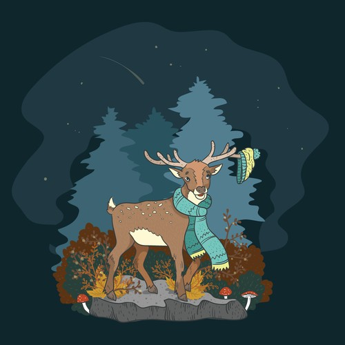 Mystic deer illustration