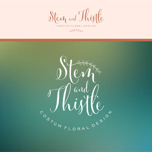 A simple, classy, creative logo for Stem and Thistle custom floral design company
