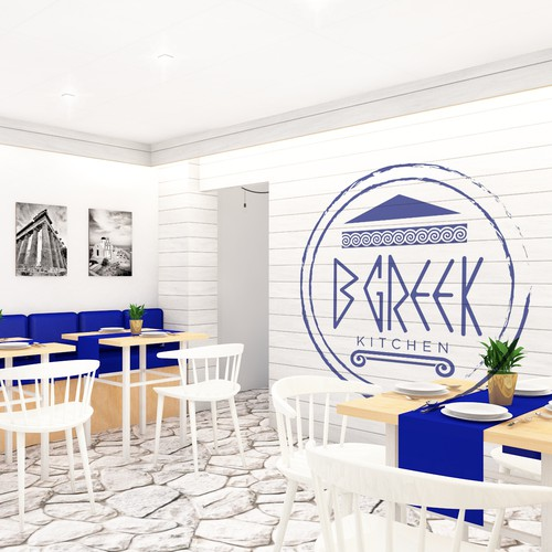 Interior design of greek restaurant