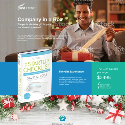 Landing Page for a Holiday Gift Package.