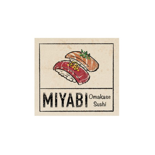 Vintage / retro japanese design for a omakase sushi restaurant