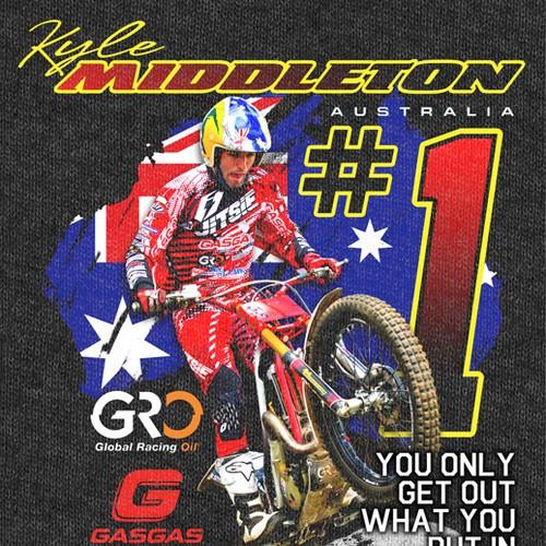 T-shirt design for Australian Champion motorcyclist